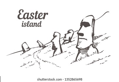 Drawn sketch Moais in Rapa Nui National Park on the slopes of Rano Raruku volcano on Easter Island, Chile vector illustration isolated on white vbackground.