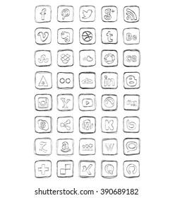 Drawn Social Media Icons Vector