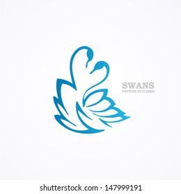 Drawn stylized blue swans