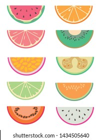 Drawn vector collection set with different exotic fruit slices cut in half like water melon, orange, grapefruit, kiwi, lime, tamarillo, feijoa, dragon fruit, cantaloup Melon, and passion fruit