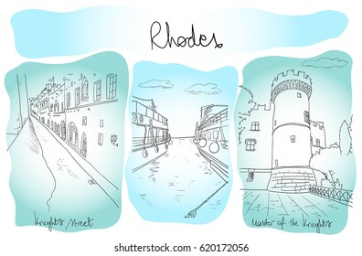 Drawn vector hand, three drawings Rhodes town and famous landmarks
