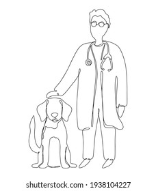 Drawn veterinarian doctor examining and care of sick dog. Pet health care service concept. Continuous line drawing design for banner, flyer, vet clinic, veterinary. Vector illustration one line art.