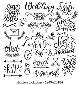 Drawn wedding set of laurels, rings, flowers, hearts etc. Vector handwritten phrases collection Save The Date, RSVP, Will You, And. Graphic background for festive invitations, cards,overlays.