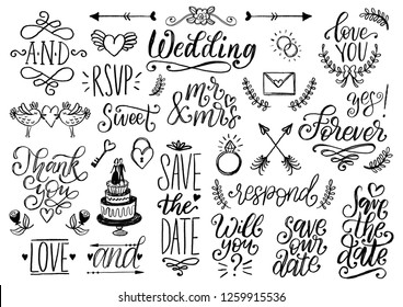 Drawn wedding set of laurels, rings, flowers, hearts etc. Vector handwritten phrases collection Save The Date, RSVP, Thank You, Forever. Graphic background for festive invitations, cards,overlays.