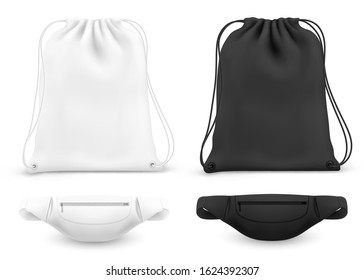 Drawstring backpack and belt fanny bag, vector white and black mockups. Gym or fitness bag pouch with shoulder ropes and waist bum bag pack, sports and casual realistic garments