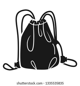 Drawstring bag icon. Simple illustration of drawstring bag icon vector for web design isolated on white background