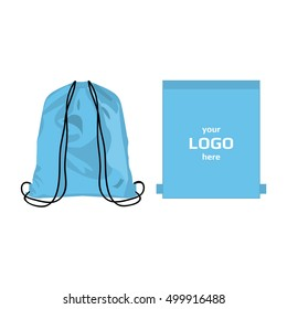 Drawstring sport bag baby blue color, place for logo isolated vector on the white background