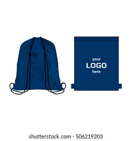 Drawstring sport bag blue color, place for logo isolated vector
