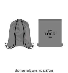Drawstring sport bag grey color, place for logo isolated vector