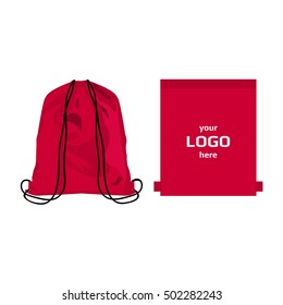 Drawstring sport bag hot pink color, place for logo isolated vector on the white background