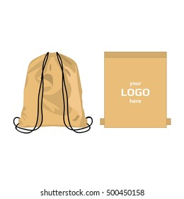 Drawstring sport bag light brown color, place for logo isolated vector on the white background