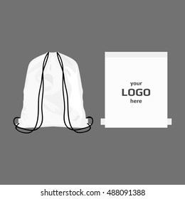 Drawstring sport bag white color, place for logo isolated vector