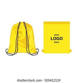Drawstring sport bag yellow color, place for logo isolated vector