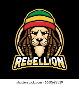 Dreadlock rasta lion mascot logo