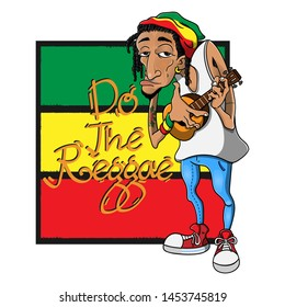 "Dreadlocks Man wearing a Skullcap with Reggae Style playing Ukulele Guitars in front of the Rastafarian Flag with ""do the reggae"" text Cartoon Vector"