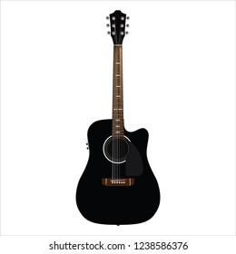 Dreadnought guitar in realistic style. Fine for guitar lessons posters, musical invitations, guitar festival banners.