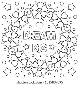 Dream big. Coloring page. Black and white vector illustration.