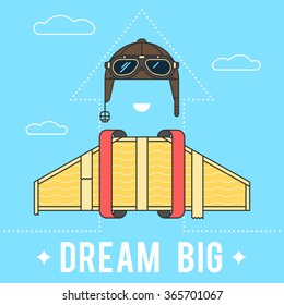 Dream big concept , cardboard wings and a helmet with goggles Aviator retro. Modern flat line vector logo pictogram illustration