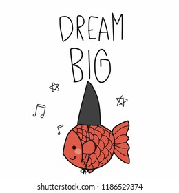 Dream big fish want to be shark cartoon vector illustration doodle style, business concept