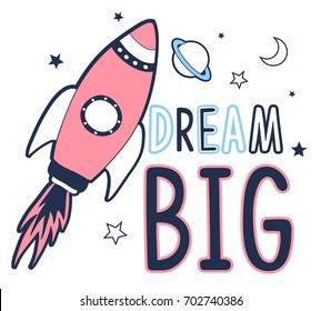 dream big space illustration vector.
