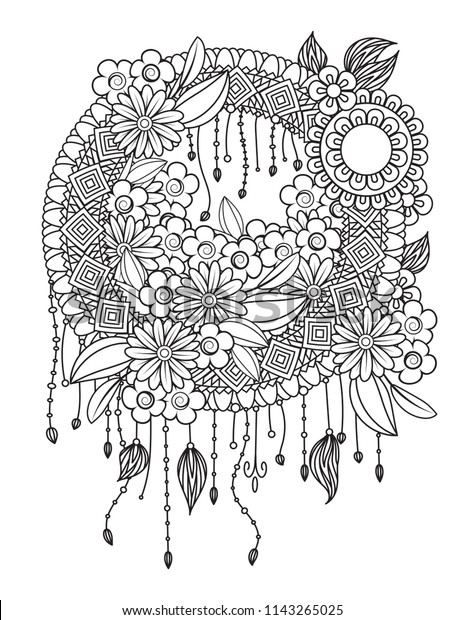 black and white dream catchers coloring pages | Dream Catcher Adult Coloring Page Feathers Stock Vector ...