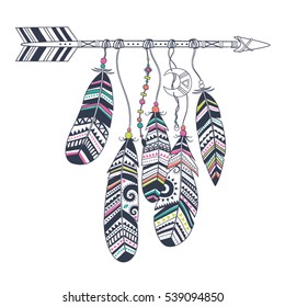 Dream catcher with arrow and feathers. Native American Indian talisman. Vector hand drawn hipster illustration isolated on white background. Boho design, tattoo art, coloring book for adults.