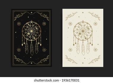 A dream catcher card with engraving, esoteric, boho, spiritual, geometric, astrology, magic themes, for tarot reader card Premium Vector