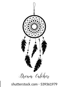 Dream catcher decorated with feathers and beads. Hand drawn vector illustration. Silhouette.