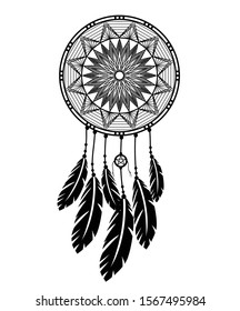 Dream catcher with feathers in zentangle silhouette style vector illustration drawing.