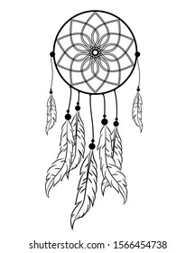 Dream catcher with feathers in zentangle style vector illustration drawing.