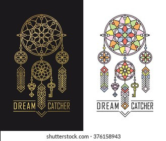 Dream catcher icons in linear style.