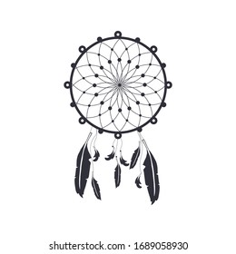 Dream catcher isolated on white background. Indian spiritual symbol vector illustration.
