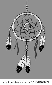 dream catcher, outline and greyscale illustration