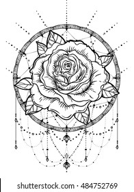 Dream catcher with rose flower, detailed vector illustration isolated on white. Blackwork tattoo flash, mystic symbol. New school dotwork. Boho design. Print, posters, t-shirts and textiles.