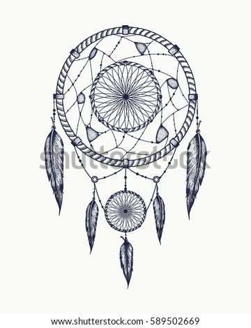 Dream Catcher Tattoo Art Dot Works Stock Vector Royalty Free Magnificent Dream Catcher Works