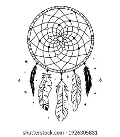 Dream catcher with threads, beads and feathers. Native american symbol in boho style. Vector tribal illustration. Ethnic indian dreamcatcher silhouette.