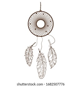 Dream catcher. Vector illustration. Isolated object on a white background. Contour image.