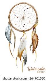 dream catcher, watercolor,feathers,, decoration
