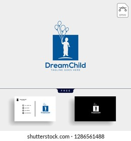 Dream child, creative logo template vector illustration with business card