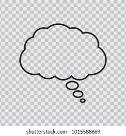 Dream cloud black color isolated in transparent background