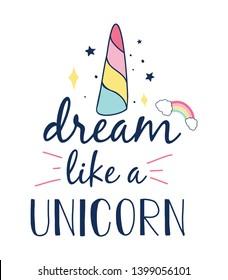 Dream like a unicorn slogan and hand drawing magic icons vector.