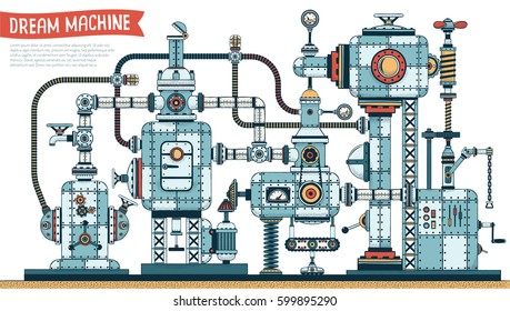 Dream machine with cables, pipes, parts, aggregates, mechanisms. A complex metal engineering device. Vector illustration. Shadow can be disable.