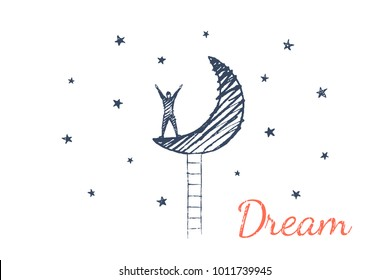 Dream. The man had a dream in which he climbed the moon on the stairs. Vector business concept illustration, hand drawn sketch.