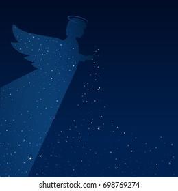 Dream. Night. Angel. Conceptual idea. Christmas time. Good night. Vector illustration. EPS 10