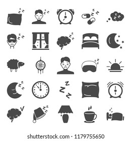 Dream and rest simple icons set