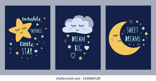 Dream sleep cards set for baby design. Cute sleepy moon star cloud kids character vector