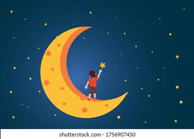 Dream vector concept: back view of unidentified boy reaching the star on the crescent moon