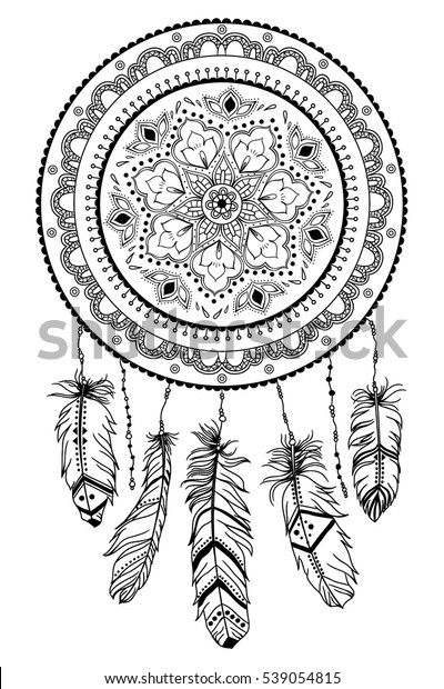 2a2fc2f6c Dreamcatcher with arrow and feathers. Native American Indian talisman.  Vector hand drawn hipster illustration