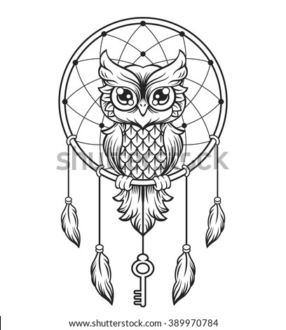 black and white dream catchers coloring pages | Dreamcatcher Black White Owl Vector Line Stock Vector ...