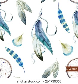 Dreamcatcher, boho, watercolor, pattern, feathers, drawing,